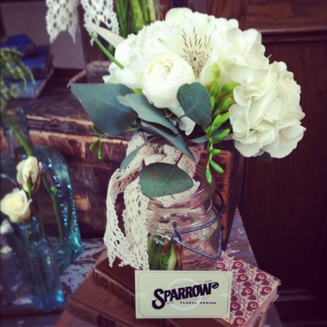 Bouquets in mason jars (great idea!) from Sparrow