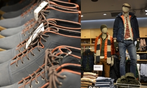 Some of the men's collection and shoe display at the Bayshore H&M. Photo by Alayna Wright